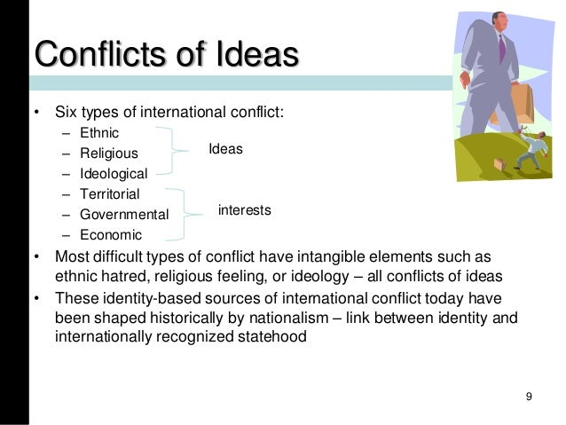 Conflicts of Ideas • Six types of international conflict: – Ethnic – Religious – Ideological – Territorial – Governmental ...