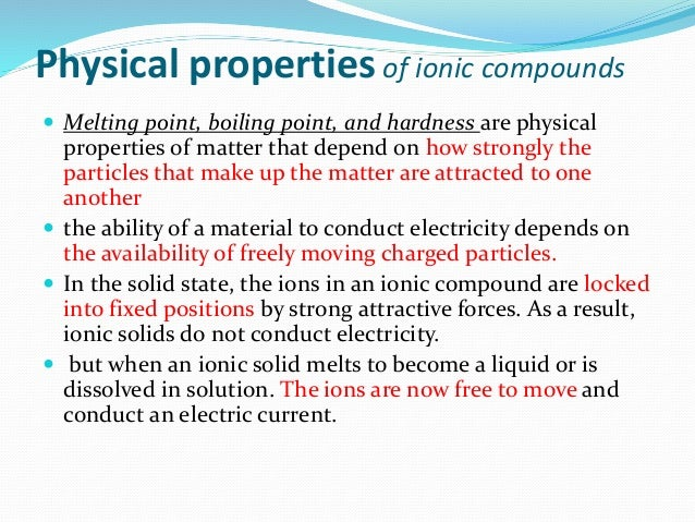 physical properties ionic compounds spm chemistry form 4 form 5