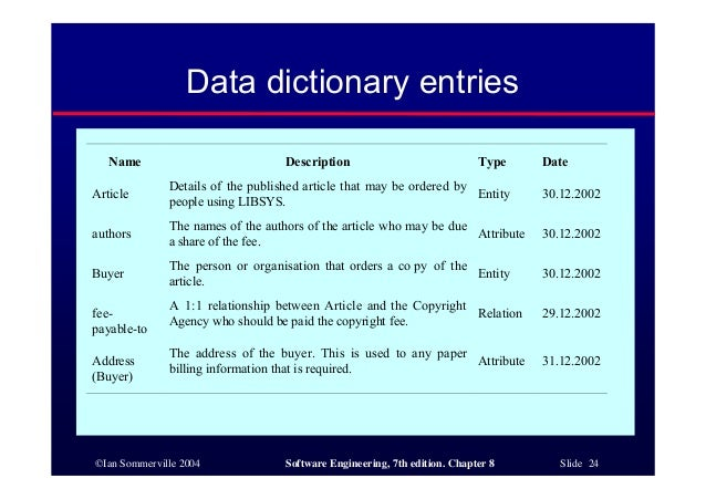 Software engineering ch8 for Data dictionary format