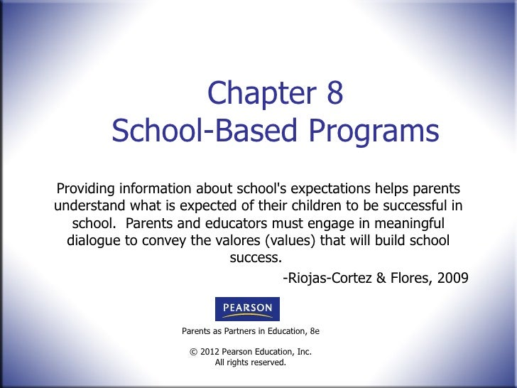 Chapter 8 School-Based Programs Providing information about school's expectations helps parents understand what is expecte...