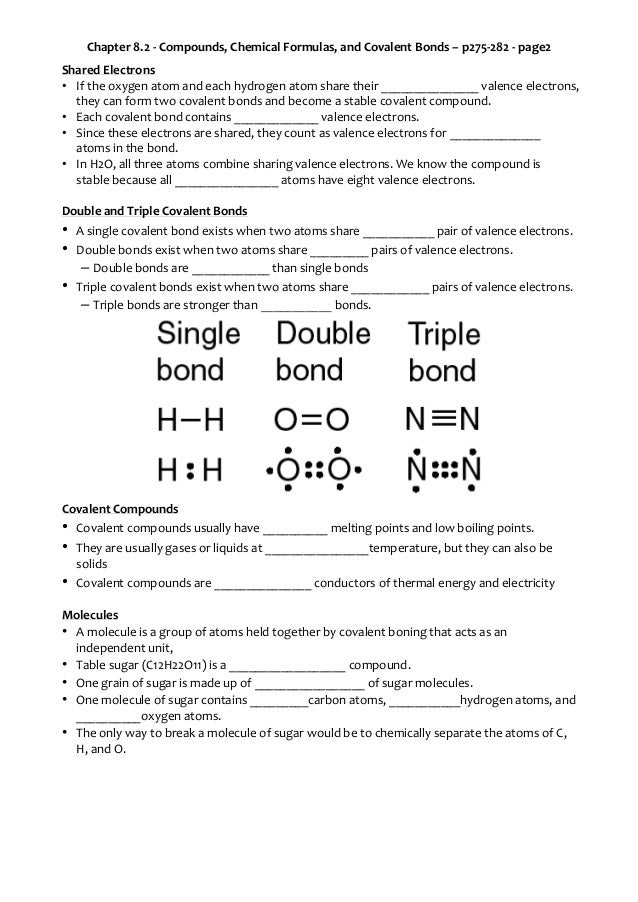 Ch 8 2: Compounds, Chemical Formulas, and Covalent Bonds