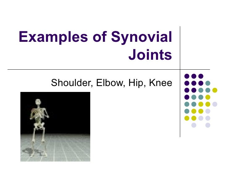 Examples of Synovial Joints Shoulder, Elbow, Hip, Knee