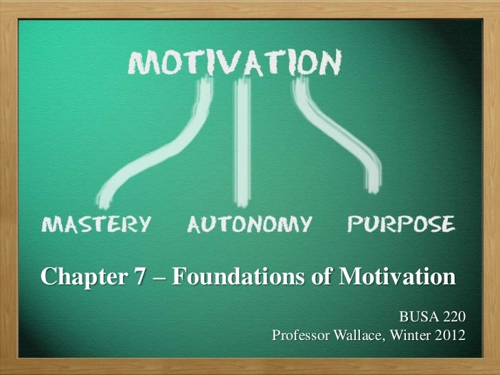 Chapter 7 – Foundations of Motivation                                        BUSA 220                    Professor Wallace...