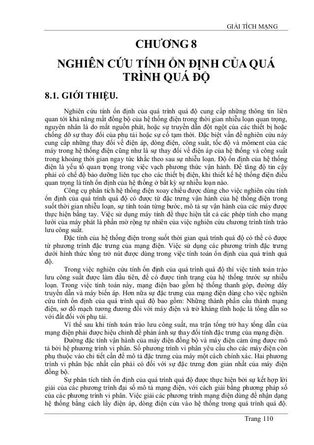 GIẢI TÍCH MẠNG Trang 110 CHƯƠNG 8 NGHIÊN CỨU TÍNH ỔN ĐỊNH CỦA QUÁ TRÌNH QUÁ ĐỘ 8.1. GIỚI THIỆU. Nghiên cứu tính ổn định củ...