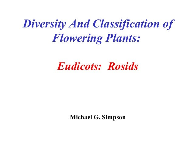 Diversity And Classification of Flowering Plants: Eudicots: Rosids Michael G. Simpson