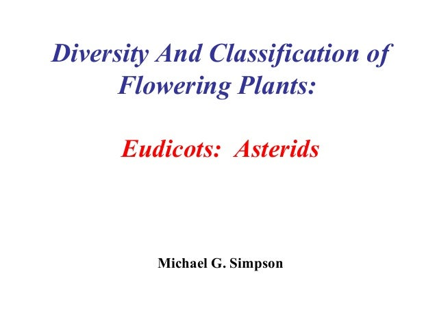 Diversity And Classification of Flowering Plants: Eudicots: Asterids Michael G. Simpson