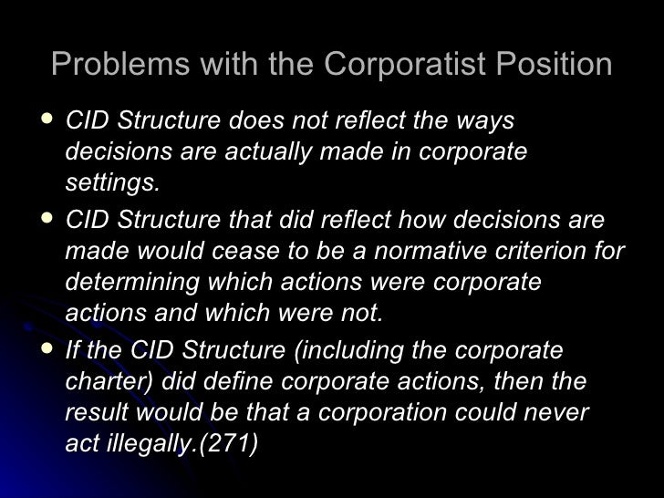 is it moral for corporations to This question is often posed as: should the purpose of corporations be directed to good does morality matter in managing businesses like people, should be held to moral standards.