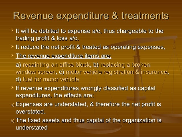 Revenue expenditure & treatments  It will be debited to expense a/c, thus chargeable to the   trading profit & loss a/c....