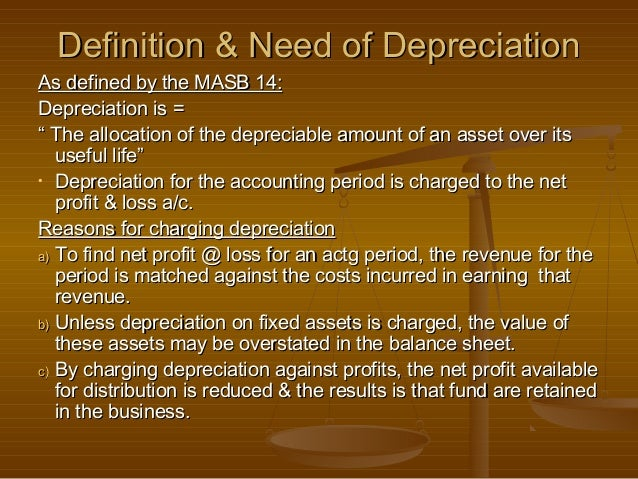 """Definition & Need of DepreciationAs defined by the MASB 14:Depreciation is ="""" The allocation of the depreciable amount of ..."""