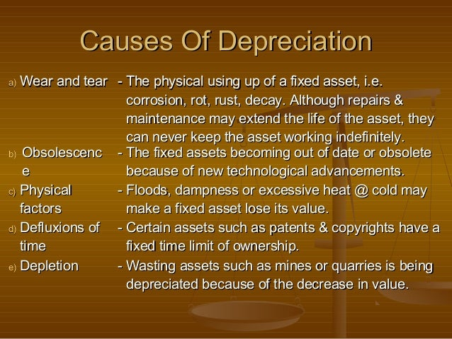 Causes Of Depreciationa) Wear and tear - The physical using up of a fixed asset, i.e.                   corrosion, rot, ru...