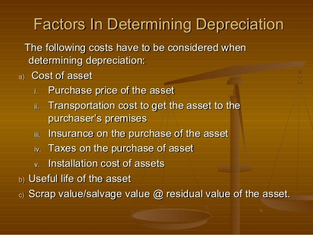 Factors In Determining Depreciation  The following costs have to be considered when   determining depreciation:a) Cost of ...