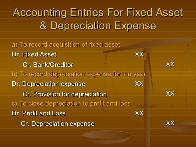 Accounting Entries For Fixed Asset    & Depreciation Expensea) To record acquisition of fixed assetDr. Fixed Asset        ...
