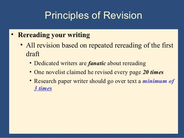 revising the research paper Drafting, revising, and editing drafting when creating a document such as an essay or a college paper, the writer must ensure that the content is appropriate for the.