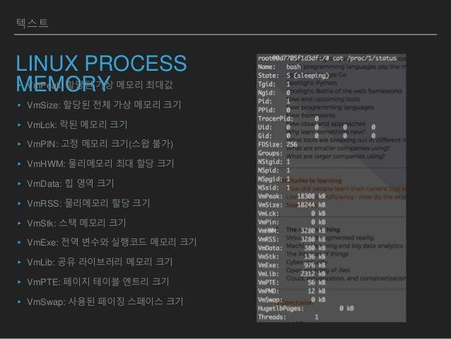 텍스트 LINUX PROCESS MEMORY▸ VmPeak: 할당된 가상 메모리 최대값 ▸ VmSize: 할당된 전체 가상 메모리 크기 ▸ VmLck: 락된 메모리 크기 ▸ VmPIN: 고정 메모리 크기(스왑 불가) ▸...
