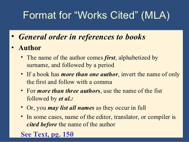 Order of a research paper mla