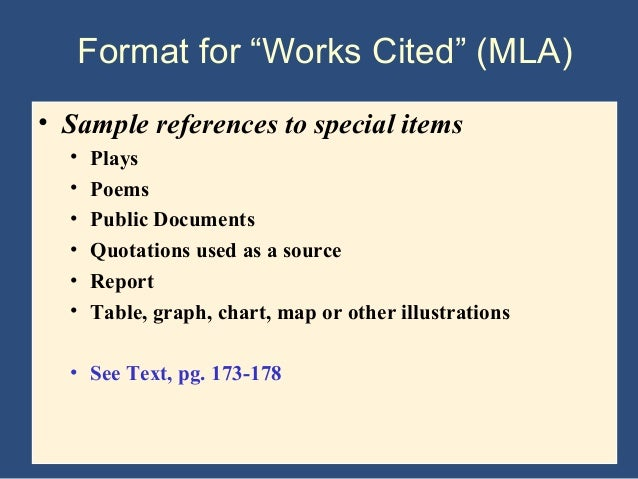 format for works cited mla