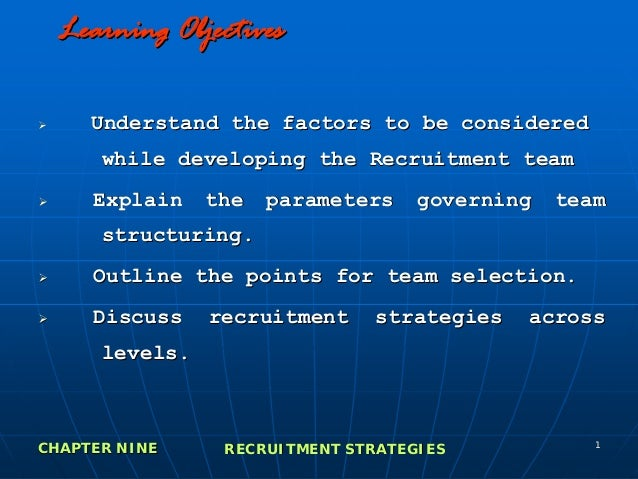 Learning Objectives     Understand the factors to be considered      while developing the Recruitment team     Explain    ...