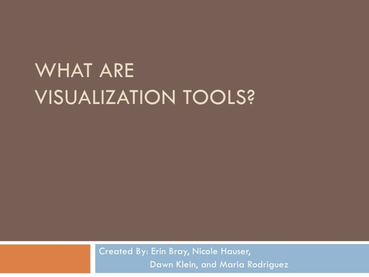 WHAT ARE  VISUALIZATION TOOLS? Created By: Erin Bray, Nicole Hauser,    Dawn Klein, and Maria Rodriguez