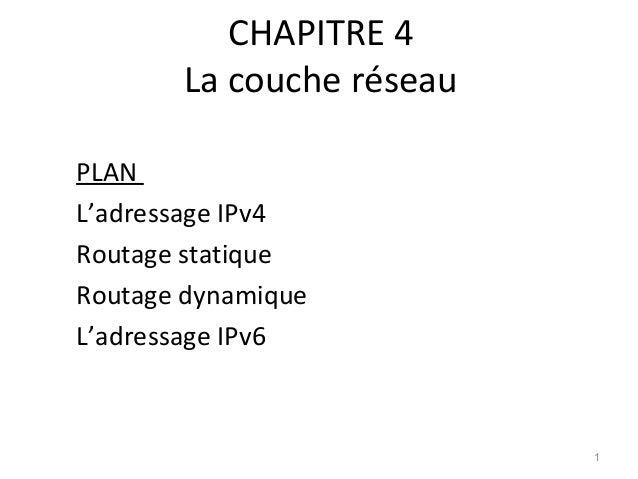 CHAPITRE 4 La couche réseau PLAN L'adressage IPv4 Routage statique Routage dynamique L'adressage IPv6  1