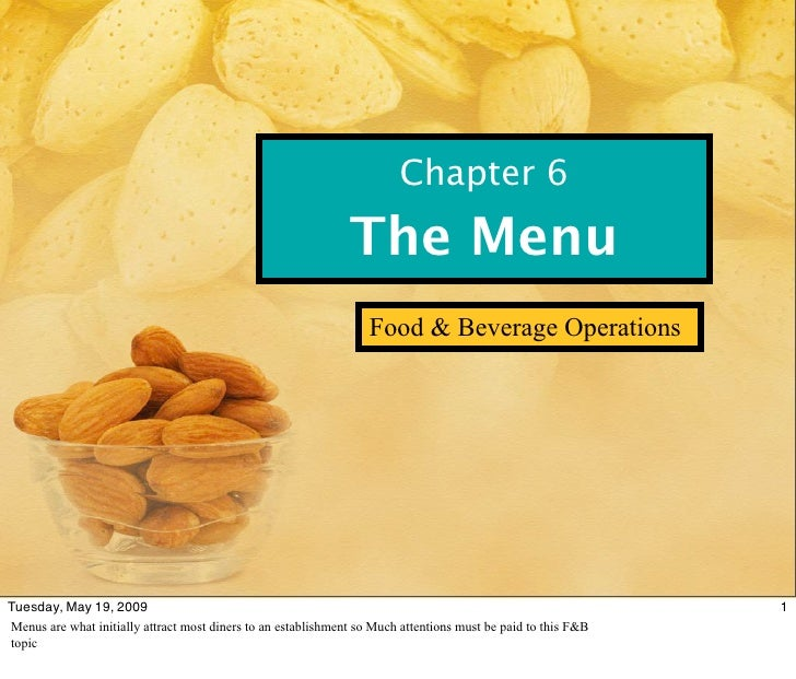Chapter 6                                                                The Menu                                         ...