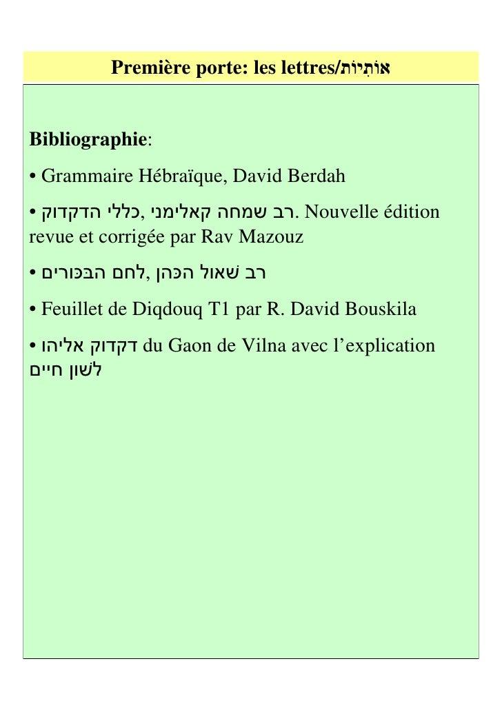 Première porte: les lettres (1)1] Les lettre hébraïques qui forment la langue sainte sont au nombre de 22, quevoici :     ...