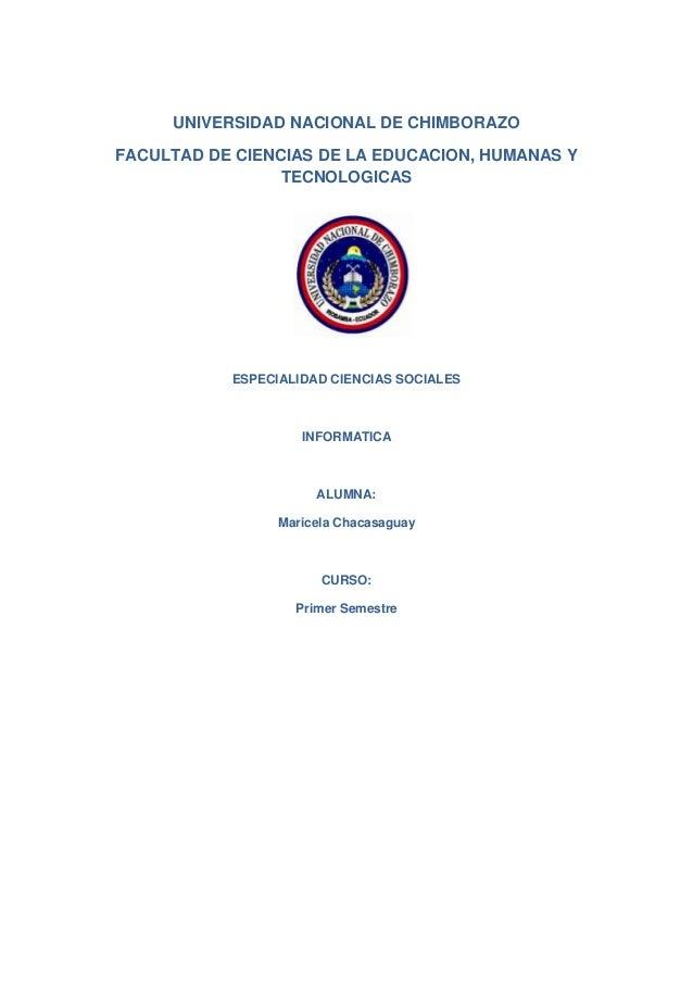 UNIVERSIDAD NACIONAL DE CHIMBORAZO FACULTAD DE CIENCIAS DE LA EDUCACION, HUMANAS Y TECNOLOGICAS  ESPECIALIDAD CIENCIAS SOC...