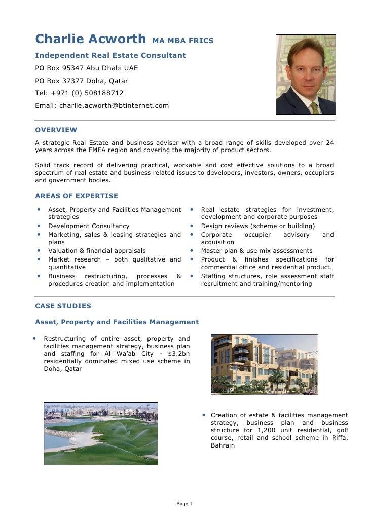 Charlie Acworth                          MA MBA FRICS Independent Real Estate Consultant PO Box 95347 Abu Dhabi UAE PO Box...