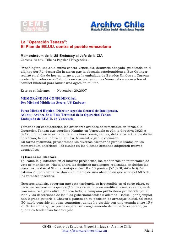 """La """"Operación Tenaza"""": El Plan de EE.UU. contra el pueblo venezolano  Memorándum de la US Embassy al Jefe de la CIA Caraca..."""