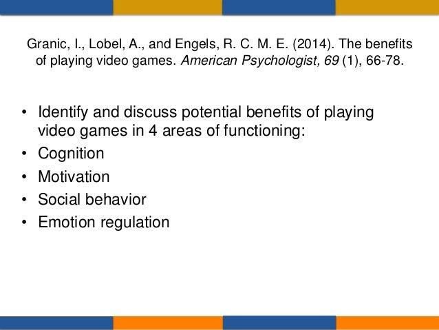 There is empirical evidence documenting positive effects of video game play on cognition, including: – Spatial skills – Pr...