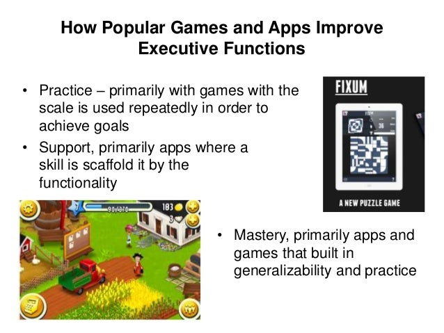 Limitations of using popular games and technologies to prove executive functions • Lack of peer-reviewed research • Diffic...
