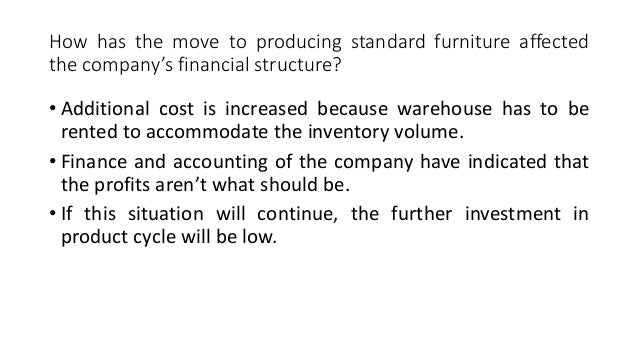 how has the move to producing standard furniture affected the company s financial structure Since larry's loan  structure 1 financial intermediaries can take  not directly affected by the tools of the fed and has some direct.