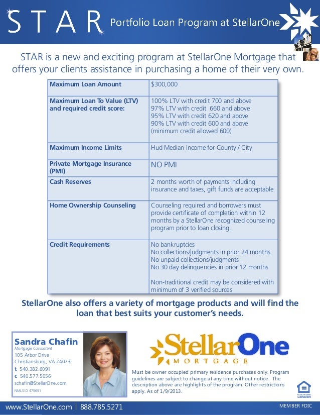 STAR is a new and exciting program at StellarOne Mortgage that offers your clients assistance in purchasing a home of thei...
