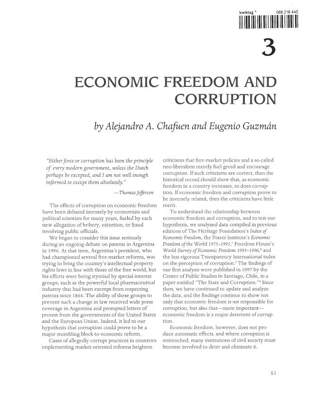 "Chafuen, alejandro and eugenio guzman, ""economic freedom and corruption,"" in 2000 index of economic freedom, edited by ger..."