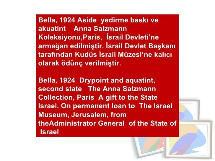 Bella, 1924 Aside  yedirme baskı ve  akuatint  Anna Salzmann  Koleksiyonu,Paris,  İsrail Devleti'ne armağan edilmiştir. İs...