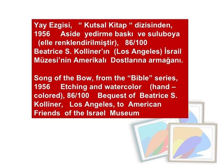 """Yay Ezgisi,  """" Kutsal Kitap """" dizisinden, 1956  Aside  yedirme baskı  ve suluboya  (elle renklendirilmiştir),  86/100  Bea..."""