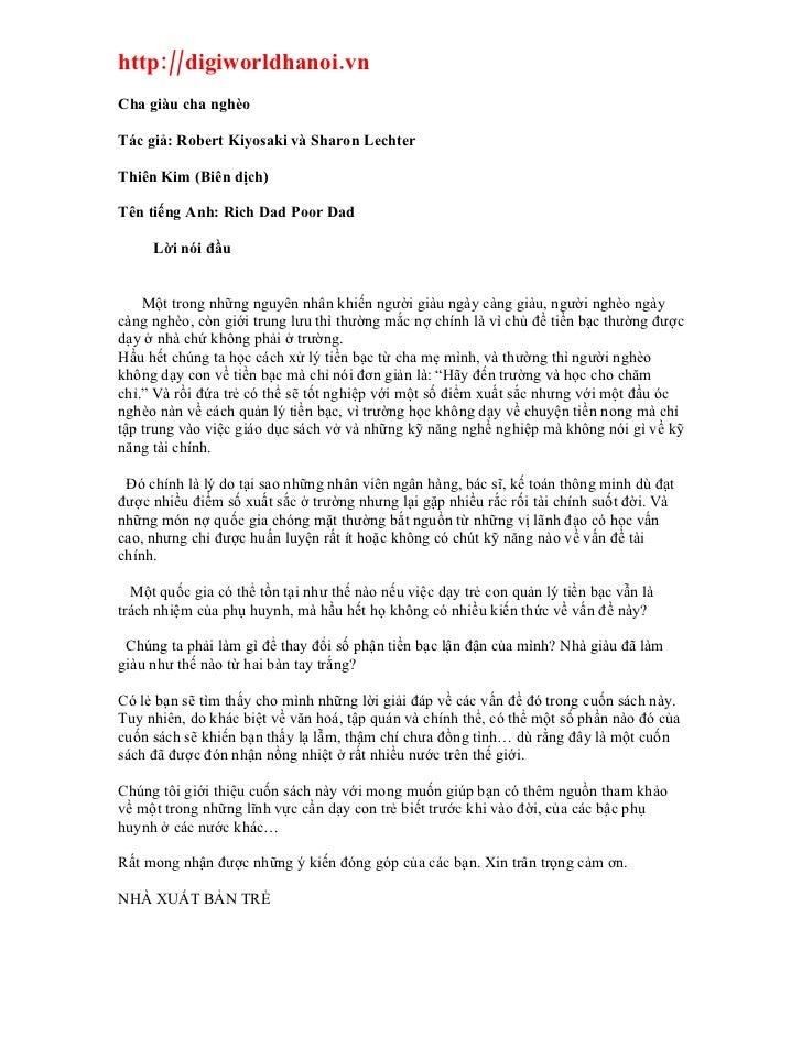 http://digiworldhanoi.vn Cha giàu cha nghèo  Tác giả: Robert Kiyosaki và Sharon Lechter  Thiên Kim (Biên dịch)  Tên tiếng ...