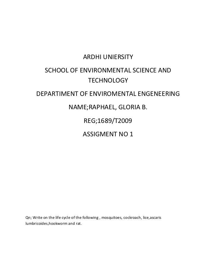 ARDHI UNIERSITY           SCHOOL OF ENVIRONMENTAL SCIENCE AND                       TECHNOLOGY      DEPARTIMENT OF ENVIROM...