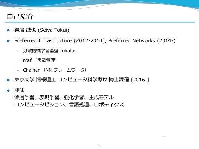 自己紹介  得居 誠也 (Seiya Tokui)  Preferred Infrastructure (2012-2014), Preferred Networks (2014-) – 分散機械学習基盤 Jubatus – maf (実験...