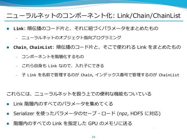 ニューラルネットのコンポーネント化: Link/Chain/ChainList  Link: 順伝播のコード片と、それに紐づくパラメータをまとめたもの – ニューラルネットのオブジェクト指向プログラミング  Chain, ChainList...