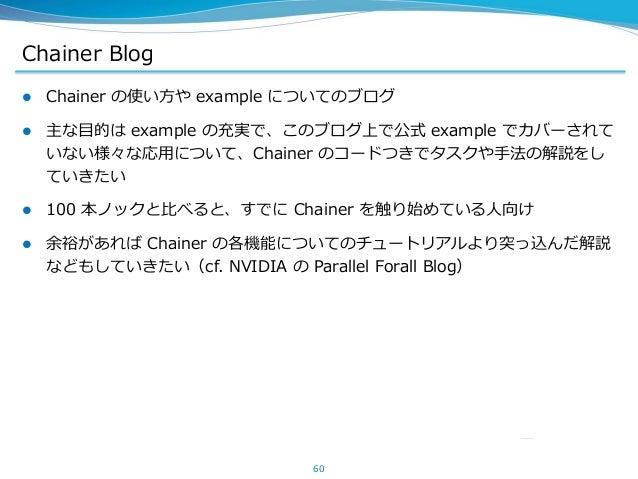 Chainer Blog  Chainer の使い方や example についてのブログ  主な目的は example の充実で、このブログ上で公式 example でカバーされて いない様々な応用について、Chainer のコードつきでタ...