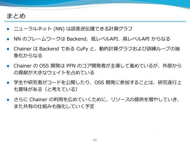 まとめ  ニューラルネット (NN) は誤差逆伝播できる計算グラフ  NN のフレームワークは Backend、低レベルAPI、高レベルAPI からなる  Chainer は Backend である CuPy と、動的計算グラフおよび訓練...