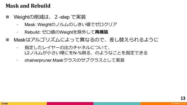 © DeNA Co., Ltd. MaskandRebuild n Weight -step Mask: Weight Rebuild: Weight n Mask L2 N-% chainerpruner.Mask 13