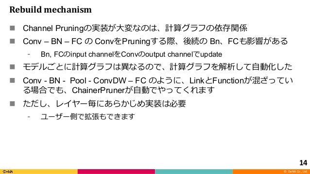 © DeNA Co., Ltd. Rebuild mechanism n Channel Pruning n Conv – BN – FC Conv Pruning Bn FC Bn, FC input channel Conv output ...