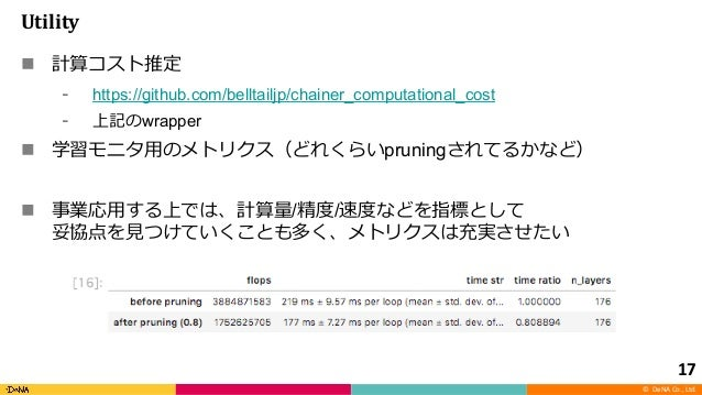 © DeNA Co., Ltd. Utility n https://github.com/belltailjp/chainer_computational_cost wrapper n pruning n / / 17