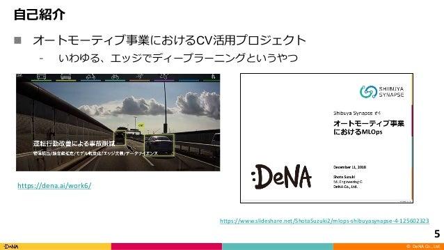 © DeNA Co., Ltd. n CV 5 https://www.slideshare.net/ShotaSuzuki2/mlops-shibuyasynapse-4-125602323 https://dena.ai/work6/