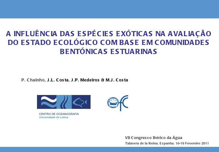 A INFLUÊNCIA DAS ESPÉCIES EXÓTICAS NA AVALIAÇÃO DO ESTADO ECOLÓGICO COM BASE EM COMUNIDADES BENTÓNICAS ESTUARINAS P. Chain...