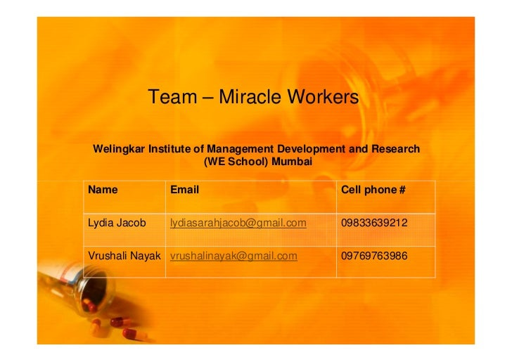Team – Miracle WorkersWelingkar Institute of Management Development and Research                      (WE School) MumbaiNa...