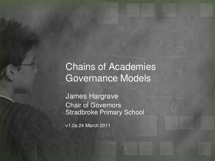 Chains of AcademiesGovernance Models<br />James Hargrave<br />Chair of GovernorsStradbroke Primary Schoov1.2a 24 March 201...