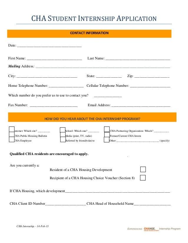 CHA Student Internship Program Application Summer 2013