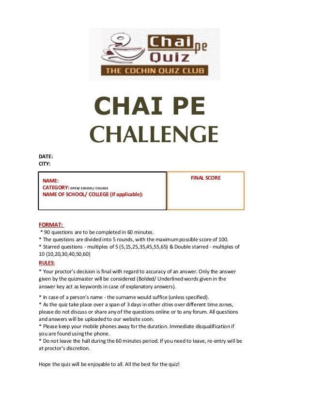 Chai Pe Challenge 2018